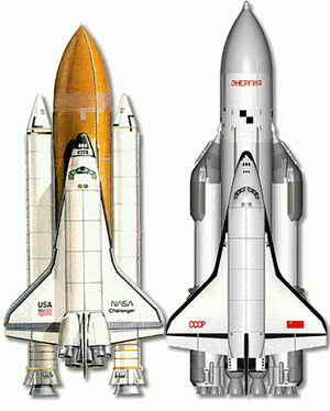Space Shuttles from America and Russia